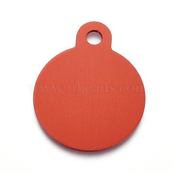 pendentifs en aluminium, estampillage d'une étiquette vierge, plat rond, rouge, 31x25x1 mm, trou: 3 mm(ALUM-I002-01F)