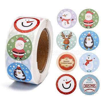 Christmas Roll Stickers, 8 Different Designs Decorative Sealing Stickers, for Christmas Party Favors, Holiday Decorations, Christmas Themed Pattern, 25mm; about 500pcs/roll(X-DIY-J002-B11)