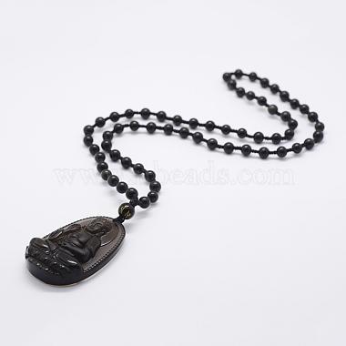 Natural Golden Sheen Obsidian Beaded Pendant Necklaces(NJEW-E116-08)-1