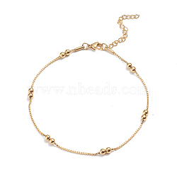 304 Stainless Steel Box Chain Anklets, with Round Beads and Lobster Claw Clasps, Golden, 9-7/8 inches(25cm), 1.5mm(X-AJEW-G024-12G)
