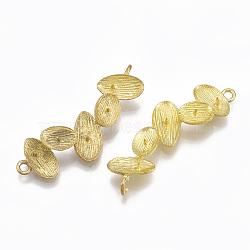 Liens en laiton piquets, pour la moitié de perles percées, sans nickel, non plaqué, 39x14x4mm, trou: 1.5~2.5 mm; broches: 0.6 mm(KK-T040-034-NF)