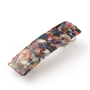 Rectangle French Design Acrylic Hair Barrettes, Automatic Hair Clip for Medium and Thick Hair, with Iron Findings, Colorful, 85x25x20.5mm(X-PHAR-F005-04)