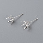 304 Stainless Steel Stud Earring Findings, Prong Settings, Silver, 16x7mm, Pin: 0.8mm