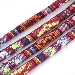 Cordes en tissu de style ethnique, avec cordon en coton à l'intérieur, colorées, 6.5~7x5 mm; environ 100 m / bundle(OCOR-S034-02)