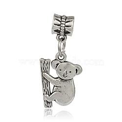 Grand trou style tibétain alliage de koala européennes perles pendentif, argent antique, 31mm, Trou: 5mm(PALLOY-J577-13AS)