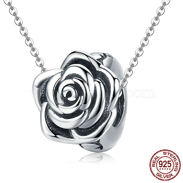 925 Sterling Silver Pendant Necklaces, Carved 925, Rose, Antique Silver, 15inches~17.7inches(38~45cm)(NJEW-FF0005-65AS)