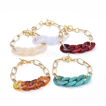 Chain Bracelets, with Acrylic Quick Link Connectors, Aluminium Paperclip Chains and Alloy Toggle Clasps, Mixed Color, 7-1/4 inches(18.4cm)(X-BJEW-JB05127)