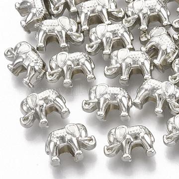 Plating ABS Plastic European Beads, Large Hole Beads, Elephant, Platinum, 9.5x14x8.5mm, Hole: 4.5mm(X-KY-T019-12)