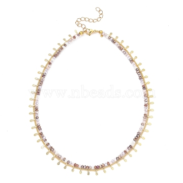 Double Layer Necklaces, with  Faceted Glass Beads, 304 Stainless Steel Lobster Claw Clasps, Brass Curb Chains & Charms, Golden, Plum, 13.78~14.17 inches(35~36cm)(NJEW-JN03077-01)