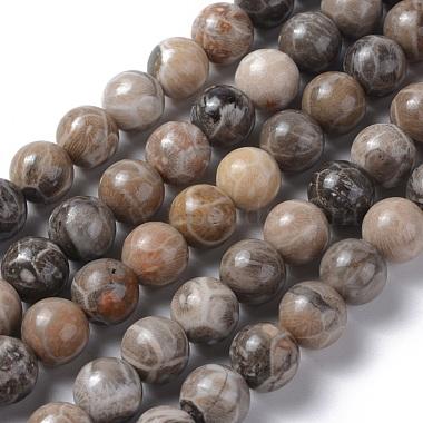 10mm DarkKhaki Round Chrysanthemum Stone Beads