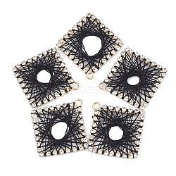 pendentifs en strass en laiton, avec fil de polyester, losange, or et de lumière, cristal, noir, 33.5~34x32.5~33x2 mm, trou: 2 mm(FIND-T044-18A)