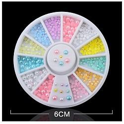 Cabochons de perles d'imitation, accessoires nail art de décoration, demi-rond / dôme, couleur mixte, 2~3 mm; environ 13 g / boîte(MRMJ-F009-03)
