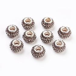 Grade A de résine strass perles européennes, perles de rondelle avec grand trou , avec ame en laiton de couleur argent, diamant noir, 12x8mm, Trou: 4mm(X-CPDL-H001-12x9mm-17)