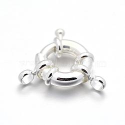 латунная пружинная застежка, 925 серебро покрытием, 15x5 mm, отверстия: 3 mm(KK-D399-B-S-NF)