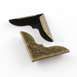 Book Scrapbooking Albums Folders Iron Box Bags Corner Protectors, Antique Bronze, 30x30x7mm(X-IFIN-R203-07AB)