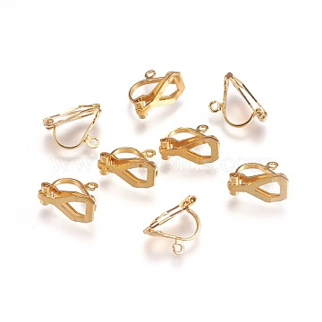 304 Stainless Steel Clip-on Earring Findings, Golden, 12x6x9mm, Hole: 1.2mm(X-STAS-P206-02G)