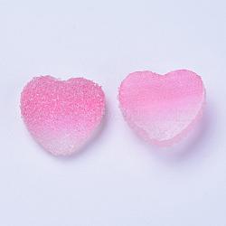 cabochons de résine, deux tons, cœur, flamant, 15~15.5x16.5~17x7 mm(RESI-TAC0002-02B)