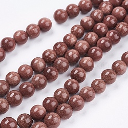 """Chapelets de perle en goldstone synthétique, rond, 8mm, trou: 1mm; environ 48 pcs/chapelet, 14.9""""(G-R193-04-8mm)"""