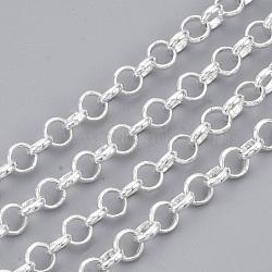 chaînes rolo en laiton soudé, avec bobine, plaqué argent, 4.5x1.2 mm(X-CHC-S008-002A-S)