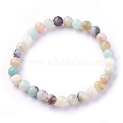 Natural Amazonite Beads Stretch Bracelets, Round, 1-7/8inches~2-1/8inches(4.9~5.3cm); Beads: 6~7mm(X-BJEW-F380-01-A09)
