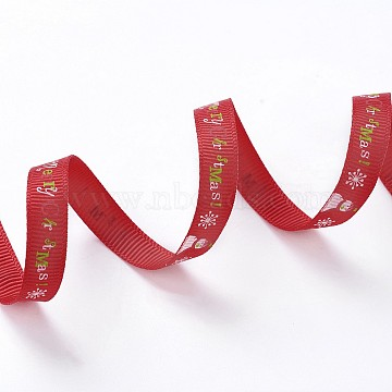 Polyester Grosgrain Ribbon, Christmas Theme, for Jewelry Making, Red, 3/8 inch(10mm), 100yards/roll(91.44m/roll)(SRIB-I004-12J)