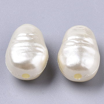 ABS Imitation Pearl Acrylic Beads, Oval , Floral White, 15x10.5x8mm, Hole: 1.8mm(X-OACR-S028-132)