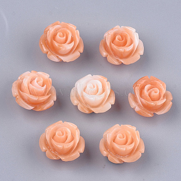 Synthetic Coral Beads, Dyed, Flower, Coral, 12~13x12~13x8~9mm, Hole: 1.2mm(X-CORA-S027-31F)