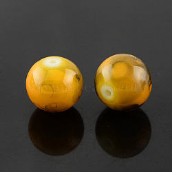 "Perles en verre d'effilage, rond, verge d'or, 4 mm; trou: 1.1~1.3 mm; environ 200 pcs / brin, 31.4""(GLAD-S075-4mm-36)"