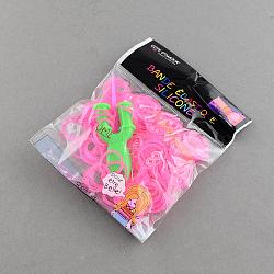 Bricolage fluorescentes bandes de métiers à tisser en caoutchouc néon recharges avec des bandes et accessoires, hotpink, 110x90x13mm(X-DIY-R010-02)