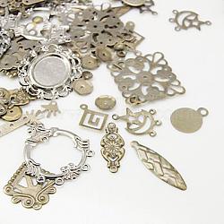 Accessoires en fer assortis, mixedstyle, couleur mixte, 4.5~30x4.5~26x1~5mm, Trou: 1~5mm(IFIN-D002-1)