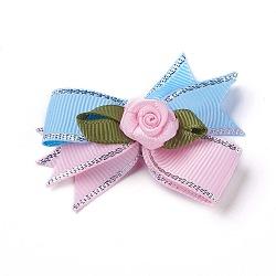 Брошь из полиэстера, с железной фурнитурой, бантом с цветком, синие, 50~53x47~48 мм(JEWB-I011-04B)