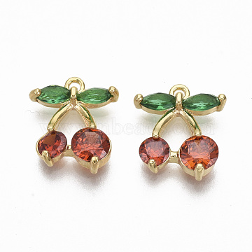 Real 18K Gold Plated Red Cherry Brass+Cubic Zirconia Charms