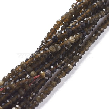 Natural Golden Sheen Obsidian Beads Strands, Flat Round, Faceted, 3x2mm, Hole: 0.6mm, about 185pcs/strand, 15.35inches(39cm)(G-A026-C01)