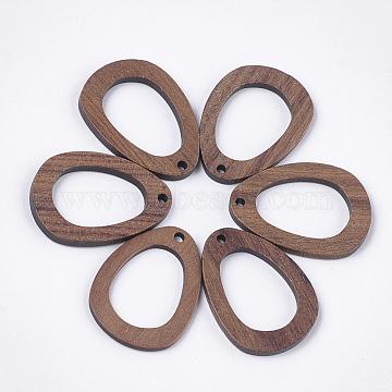 Walnut Wood Pendants, teardrop, Camel, 31x22.5x2~2.5mm, Hole: 2mm(X-WOOD-S054-02)