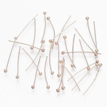 Brass Ball Head pins, Cadmium Free & Lead Free, Rose Gold, Size: about 0.5mm thick, 20mm long, head: 1.5mm; about 360pcs/20g.(X-KK-RP0.5x20mm-RG)