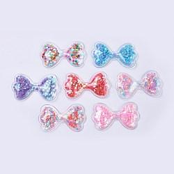 décoration pvc et paillette, diy artisanat décoration, bowknot, couleur mélangée, 36.5x62.5x6.5 mm(X-AJEW-F037D)