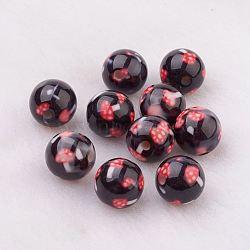 Perles en résine, Avec motif en champignon, rond, noir, 10mm, Trou: 2mm(GLAA-F049-A25)