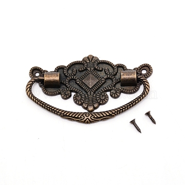 Zinc Alloy Handle, with Screw, Jewelry Box Accessories, Antique Bronze, 72x44x2~7mm, Hole: 2mm(PALLOY-WH0070-82AB)