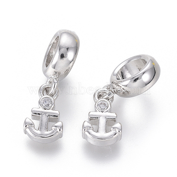 19mm Clear Anchor & Helm Brass+Cubic Zirconia Dangle Beads