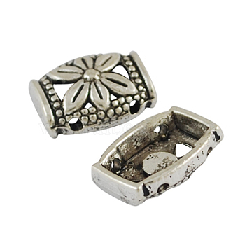 Alloy Multi-Strand Links, Cadmium Free & Nickel Free & Lead Free, Rectangle, Antique Silver, 12x10x4.5mm, Hole: 1mm(X-PALLOY-0707-AS-NR)