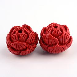 Lotus Cinnabar Beads, FireBrick, 19x23x23mm, Hole: 3mm(X-CARL-Q004-28)