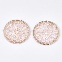 подвесные украшения из полиэстера, с железом выводы, плоские круглые с цветком, светлое золото, mistyrose, 28x1.5 mm(FIND-S283-06F)