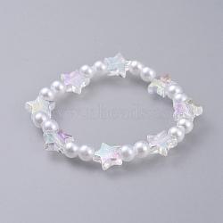 bracelets stretch enfants, avec perles acryliques imitées transparentes et perles acryliques transparentes, étoile et rond, blanc, 1-5 / 8 (4.3 cm)(BJEW-JB04577)