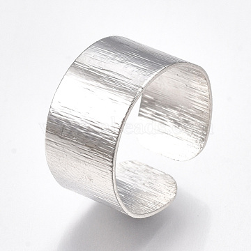 Alloy Cuff Finger Rings, Wide Band Rings, Platinum, Size 9, 19mm(X-RJEW-T006-22)