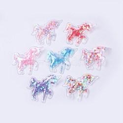 décoration pvc et paillette, diy artisanat décoration, licorne, couleur mélangée, 52x62x5.5 mm(X-AJEW-F037F)