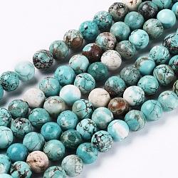 Chapelets de perles en turquoise naturelle, teints et chauffée, ronde, 8mm, trou: 1mm; environ 46 pcs/chapelet, 15.35 pouces (39 cm)