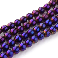 Round Glass Strands, Electroplate, Purple Plated, bead: 6mm in diameter, hole: 0.5mm. about 13 inches/strand, about 56pcs/strand(X-GR6mmY-P)