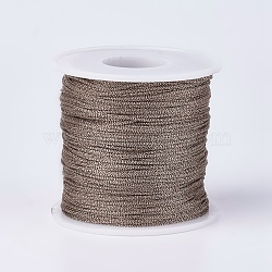 Resin and Polyester Braided Cord Thread, Metallic Cord, Coconut Brown, 1mm; about 100m/roll(109.36yards/roll)(OCOR-F008-G01)