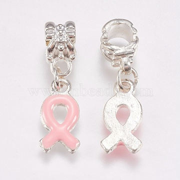 Metal Alloy European Dangle Pendants, Breast Cancer Pink Awareness Ribbon, with Enamel, 27mm(X-MPDL-H062-1)
