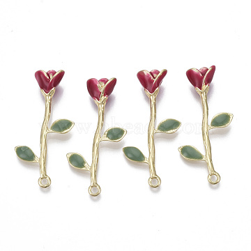 Alloy Pendants, with Enamel, Rose Flower, Light Gold, Red, 40.5x20x8mm, Hole: 1.8mm(PALLOY-S132-110)